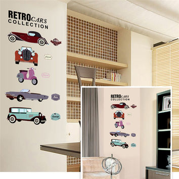 retro cars collections Wall Stickers crazy fans room decor pvc children wall art diy boys girls kids room car sticker 7213. 4.0 SM6