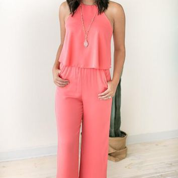 All Year Long Coral Jumpsuit