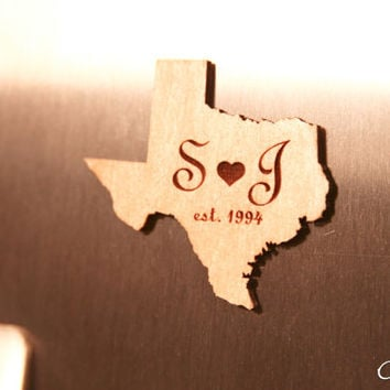 Custom Engraved Refrigerator Magnet with Personalized Initials and establish date