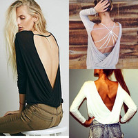 Sexy Backless Summer Fashion Women Casual Long Sleeve Lace Blouse T Shirt TOP