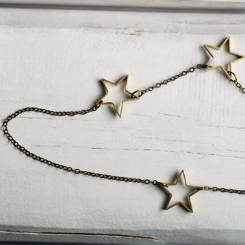 Star Necklace ... Constellation Galaxy Brass Planet Astrology Brass Gold Industrial