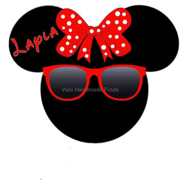 Super Hot Sexy Sunglasses Minnie Mouse Head Disney World Personalized w/ Name/Date Printable Iron On Transfer DIY Instant Download