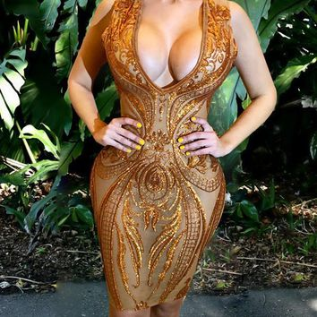 New Brown Patchwork Grenadine Sequin Bodycon Deep V-neck Sheer Clubwear Party Mini Dress