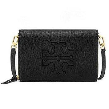 Tory Burch Harper Flat Wallet Crossbody (Black)