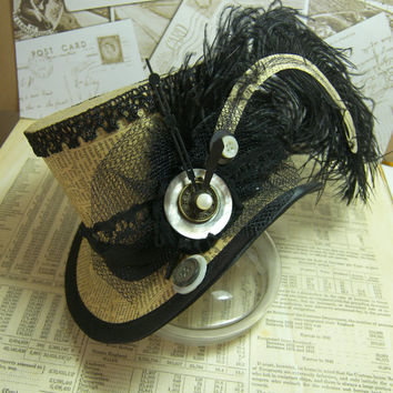 "Steampunk top hat 4"" - Writer, Literature, Adventurer, Mad Hatter, Carnival hat, Alice in Wonderland, Ringmaster Hat, Festival Hat, Clocks"