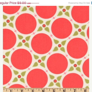 25 % off Marabella by Henry Glass Melon Pink and Green Dots Quilting Cotton Fabric 1 Yard