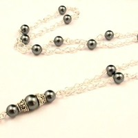Women's Fashion ID Badge Lanyard Simply Beautiful Pearls and Silver Chain