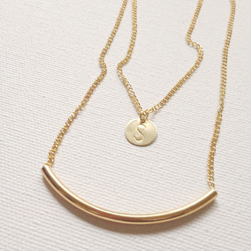 Gold tube necklace/ minimalist jewelry/ simple jewelry/ modern necklace