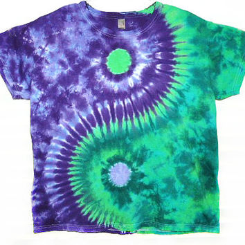 Yin Yang Tie Dye, Ladies t shirt, green and purple