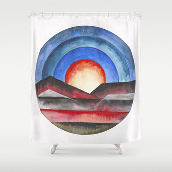 Geomtric landscapes 01 Shower Curtain by Marco Gonzalez