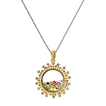 2.79ct Diamonds & Colored Sapphires in 925 Gold IP Silver Sunburst Glass Shaker Pendant Necklace 18""