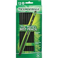 Ticonderoga ® Woodcase Pencil, HB-Soft, No. 2 Lead, Black Barrel, Dozen