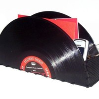 Recycled Record Container for Accessories: Home or Office
