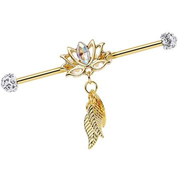 Clear Gem Gold Anodized Flowing Lotus Dangle Industrial Barbell 38mm