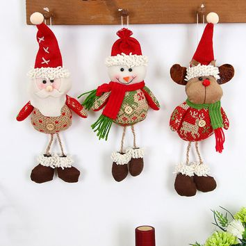 Christmas Decorations For Home Furnishing Santa Claus Dolls Elk Xmas Tree Decorations Hanging Ornament Holiday Gifts