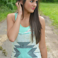 Mint Aztec Tunic Tank Top