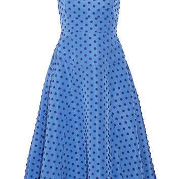 Lela Rose - Flocked silk-faille midi dress