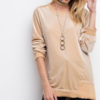 Terrific In Tan Contrast Boxy Top