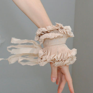 Ruffled cuffs/ Ruffled Fashion/ Hand made/ Beige/ by marinaasta