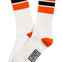 The Highball Socks in White and Orange