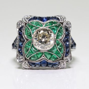 Antique Style Art Deco 925 Sterling Silver Imitation Sapphire & 1.30CT Emerald Floral Engagement Ring