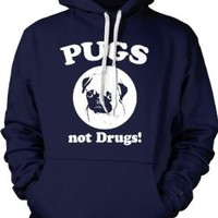 Pugs Not Drugs Hoodie - Funny Dog Sweatshirt For Animal Lovers (Navy) XL