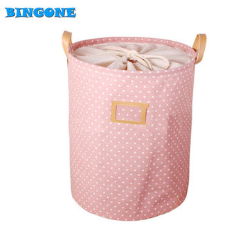 35*45CM Foldable Cotton & Linen Storage Bucket Washing Clothes Laundry Storage Basket With Handles Kids Toys Storage Basket -45