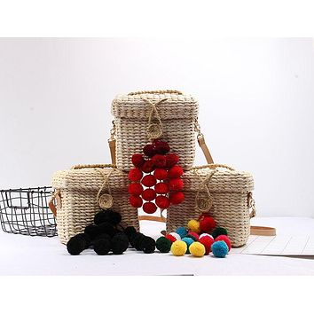 Beach Straw wicker Pompom Handbags