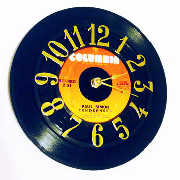 Clock, Record Clock, Vinyl Record Clock, Wall Clock, Paul Simon Record, Recycled Record, Upcycle, Battery & Wall Hanger included, Item #65