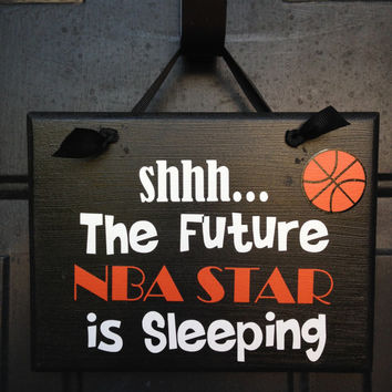 Future NBA Player Sleeping Door Sign Custom Door Sign Funny Boy's Room Door Sign Be Quiet Sleeping Sign Dallas Mavericks Fan Door Sign