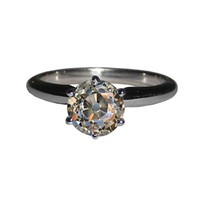 1.25 carat old mine cut diamond engagement ring gold