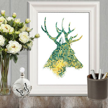 Stag printable art Gold green Home decor Geometric stag print Mosaic wall art Home decor Deer art Living room art DOWNLOAD 5x7 8x10 11x14