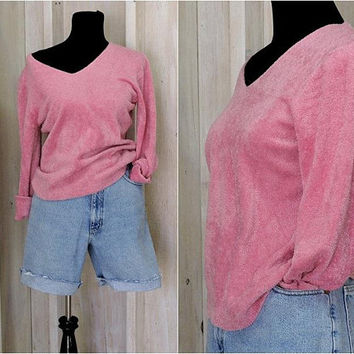 90s fuzzy  pink sweater / loose fit pullover / super soft / oversized /  Size S / M / L