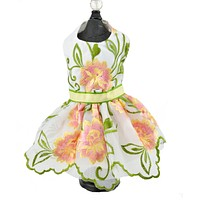 Peach and Yellow Embroidered Flower Dog Pet Harness Dress