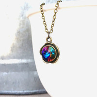 Solitaire Necklace - Multicolor Necklace - Short Necklace - Crystal Necklace - The Artisan Group - Dainty Necklace - Bridesmaid Gift