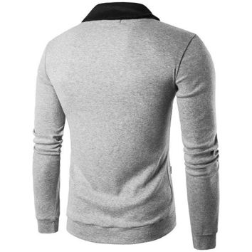 Mens Fall Winter Brief Style Sweatershirt Single-breasted Hit Color Knitting V-Neck Cardigan