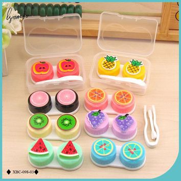 Lymouko Hot Sale Lovely Colorful Cartoon Flaunting Fruit Portable Contact Lens Case for Women Gift Container Lenses Box