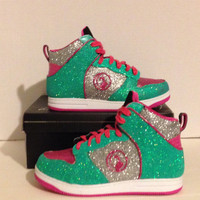 Custom Green and PInk Baby Phat Girls Glitter High Top Sneakers Size 3