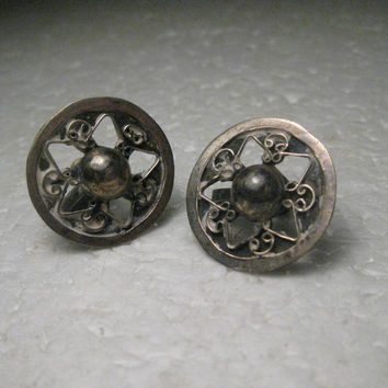 Vintage Sterling Silver Mexico Round Screw Back Earrings, Signed JCR, 1930-1940's