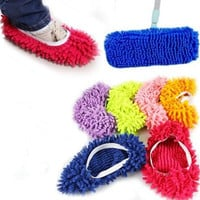 1pc Microfiber Mop Floor Cleaning Lazy Fuzzy Slippers Flooring Tools Shoes