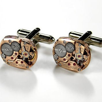 Luxury Steampunk Mens Cufflinks  OMEGA Rose Gold by edmdesigns