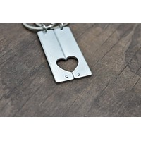 Heart Cut out Rectangle Keychains for Couples, Personalized Initials