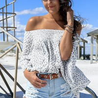 Fascinate Me Ivory Floral Off The Shoulder Top