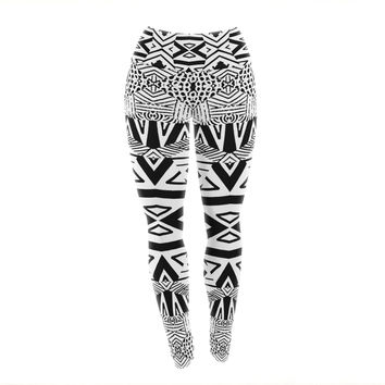 "Pom Graphic Design ""Africa"" Black White Yoga Leggings"