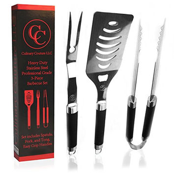 Culinary Couture Barbecue Tools 3 Piece Stainless Steel Set - Heavy Duty BBQ Grill Tools for Smokers Gas Electric and Charcoal - Oversized Spatula - Gift Box - Bonus Ebook!