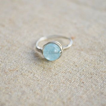 Handmade Natural Aquamarine stone Ring with 925 sterling silver