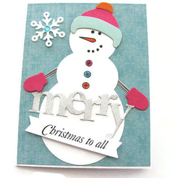 Merry Christmas To All, Snowman Card, Christmas Card, Holiday