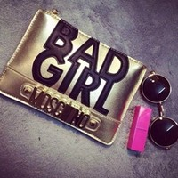 Gold Metallic Moschino Black Faux Vegan Leather Bad Girl Letter Messenger Evening Clutch Handbag