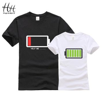 HanHent Battery Design Couples T shirt 3D Sisters Tshirts Fashion Brothers T-Shirts With Cotton Men Tees Tops Women Clothing