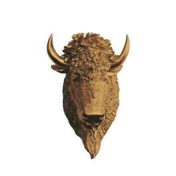 The Yellowstone | Large Buffalo Bison Head | Faux Taxidermy | Bronze Resin
